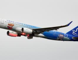海南海口市华夏航空飞机机身媒体